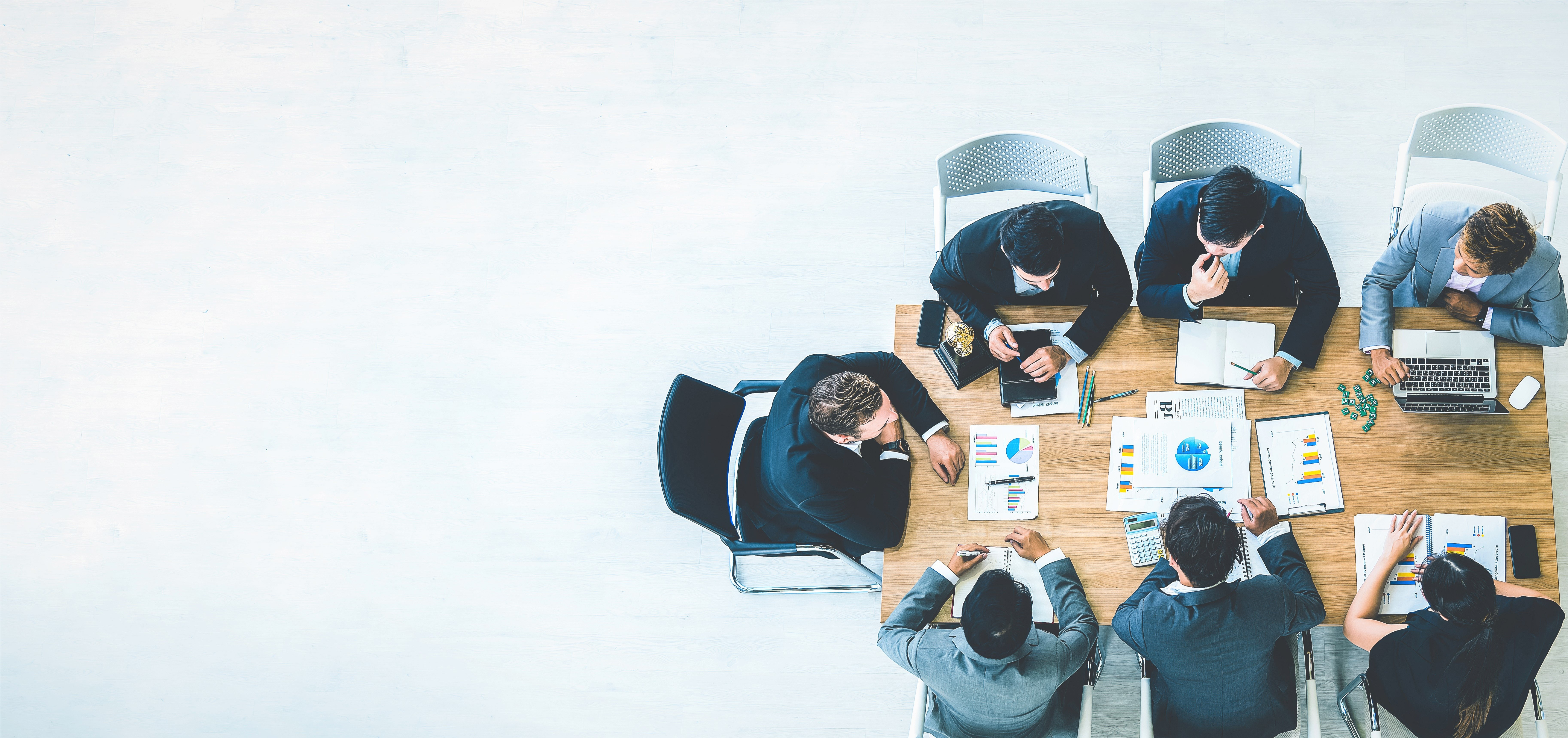 Business professionals working together and brainstorming
